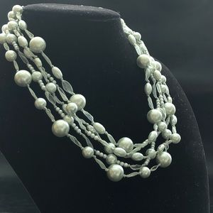 Vintage Monet Glass Pearl Organza Layered Necklace